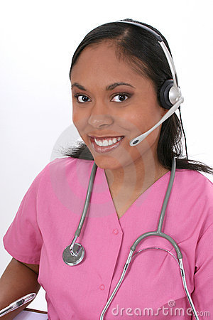 Free Beautiful Medical Receptionist Wearing Headset Royalty Free Stock Photo - 166355