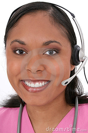 Beautiful Medical Receptionist Wearing Headset