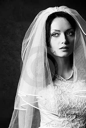 Beautiful melancholic bride