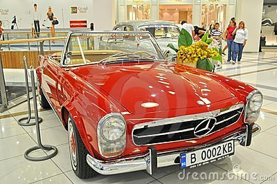Beautiful Mercedes 230SL 1963 on retro car display Editorial Stock Photo