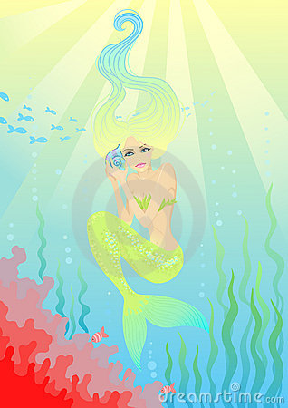 Beautiful mermaid with shell in hands