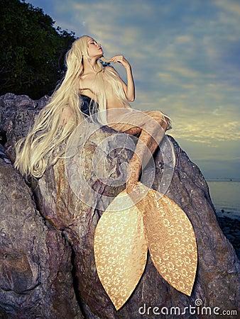 Beautiful Mermaid Sitt...