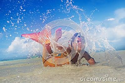 Beautiful mermaid in the tropical sea