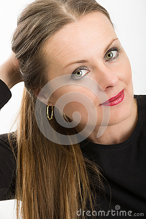 Free Beautiful Middle Age Woman Cancer Patient Before Shaving Hair Stock Image - 91159301
