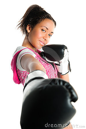 Beautiful mixed race boxing teenager, punching