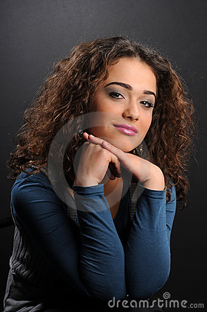 Beautiful model with curly hair