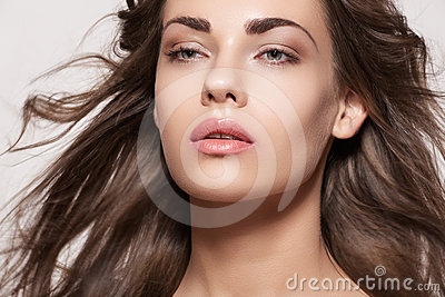 Beautiful model with fashion make-up and long hair