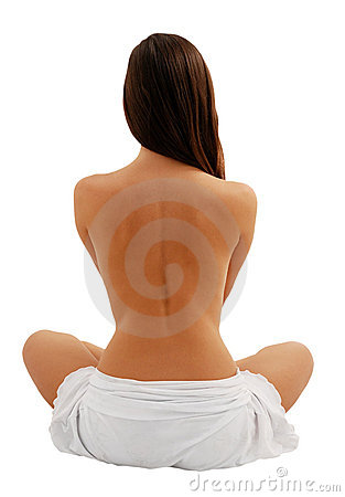Free Beautiful Model From Back, Isolated On White Stock Image - 6964311