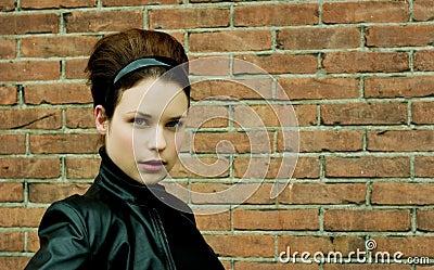 Beautiful Model in leather jacket