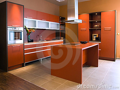 beautiful and modern kitchen interior design royalty free