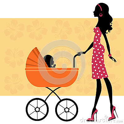 Beautiful mom with a baby in baby carriage