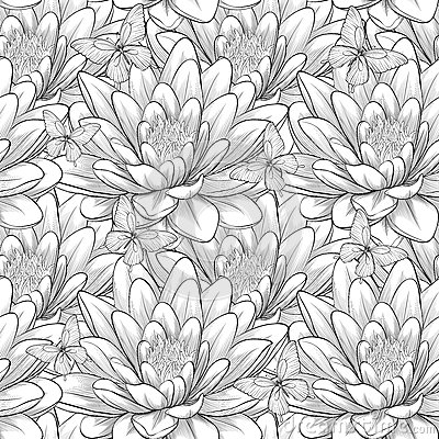 Free Beautiful Monochrome, Black And White Seamless Pattern With Lotus Flowers. Hand-drawn Contour Lines And Strokes. Stock Photos - 46805093