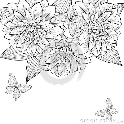 Hand Drawn Cards further 3 together with Christmastree further Stock Photography Beautiful Monochrome Black White Background Frame Dahlia Flowers Butterflies Hand Drawn Contour Lines Strokes Image38143952 additionally Poetry. on birthday greeting s