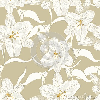 Beautiful monochrome, light green outline seamless pattern with lilies and leaves. Stock Photo