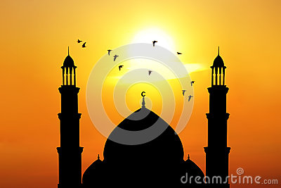 Beautiful mosque at sunset