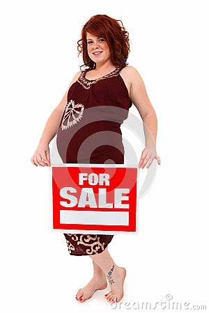 Beautiful Mother To Be with For Sale Sign