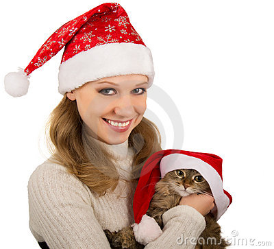 Beautiful mrs. Santa with lovely  kitten