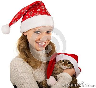 Free Beautiful Mrs. Santa With Lovely  Kitten Royalty Free Stock Photo - 21346565