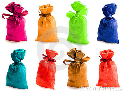 Beautiful multi-coloured sacks