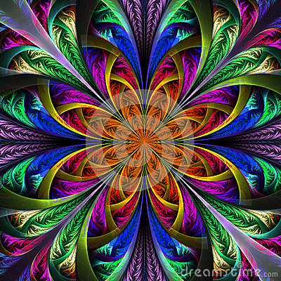 Free Beautiful Multicolor Fractal Flower. Computer Generated Graphics Stock Photo - 37666090