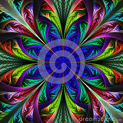 Free Beautiful Multicolor Fractal Flower. Computer Generated Graphics Stock Images - 38312734