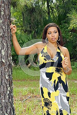 Beautiful Multiracial Woman Outdoors (7)
