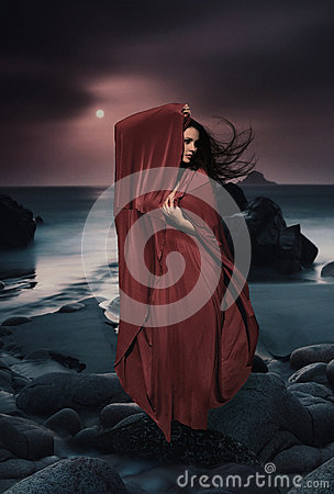 Free Beautiful Mysterious Woman In Long Dress At Ocean Beach. Fantasy Woman. Water Goddess. Book Cover. Royalty Free Stock Image - 44472616