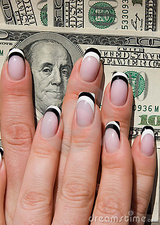 Beautiful nails with Art on money