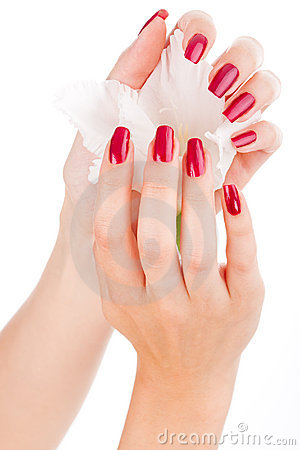 Beautiful nails and fingers with flower