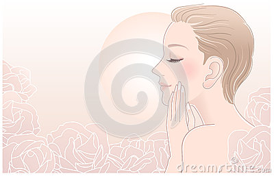 Beautiful Naked Woman touching her face in roses