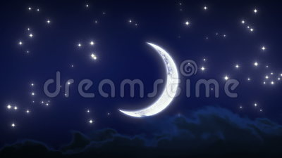 Beautiful New Moon with Stars and Clouds. Night Time Lapse. Looped animation. HD 1080.  stock footage