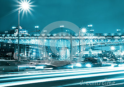 Beautiful night city in motion