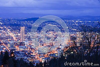 Beautiful Night Vista of Portland, Oregon