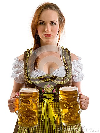 Beautiful Oktoberfest server serving beer