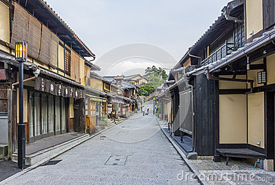 Beautiful old houses in Ninen-zaka street, Kyoto, Japan. Editorial Photography