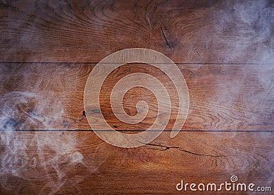 A beautiful old oak wood background with smoke