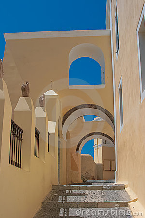 Beautiful old street in Santorini