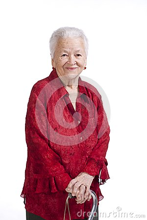 Beautiful old woman with a cane