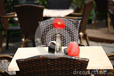 Beautiful open air summer restaurant tables with red flower in vase