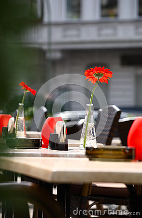 Beautiful open air summer restaurant tables with red flowers in vases