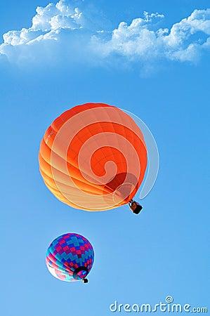 Beautiful orange and blue hot air balloon