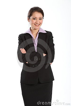 Beautiful oriental business woman arms folded