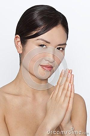 Beautiful Oriental Japanese Girl Praying