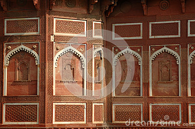 Beautiful ornate wall inside Agra fort, unesco heritage,India