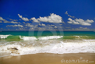 Beautiful panorama of  blue sky and Atlantic Ocean