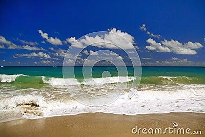 Beautiful panorama of  blue sky and Atlantic Ocean