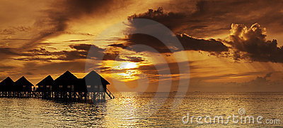 Beautiful panorama of tropical sunset