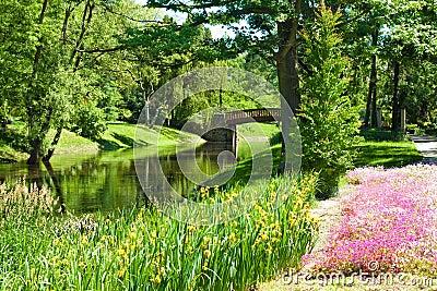 Beautiful park landscape with river, bridge and flowers
