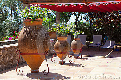 A beautiful patio with pot plants