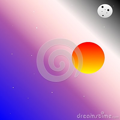 The moon and the sun. Space vector. Vector Illustration